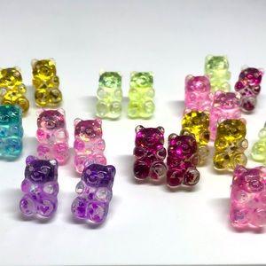 Gummy Bear Glitter Stud Earrings Handmade